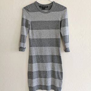 French Connection Grey Striped Sweater Dress - Size 6